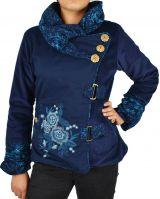 Manteau femme court en velours original Végaz Bleu 305148