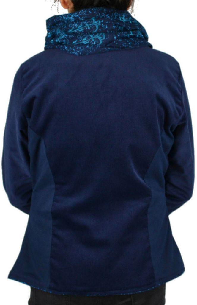 Manteau femme court en velours original Végaz Bleu 305149
