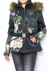 Manteau femme court noir zippé coloré Aurélia 304287