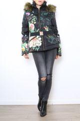 Manteau femme court noir zippé coloré Aurélia 304288