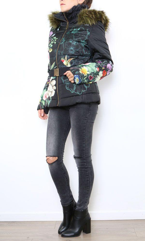 Manteau femme court noir zippé coloré Aurélia 304289