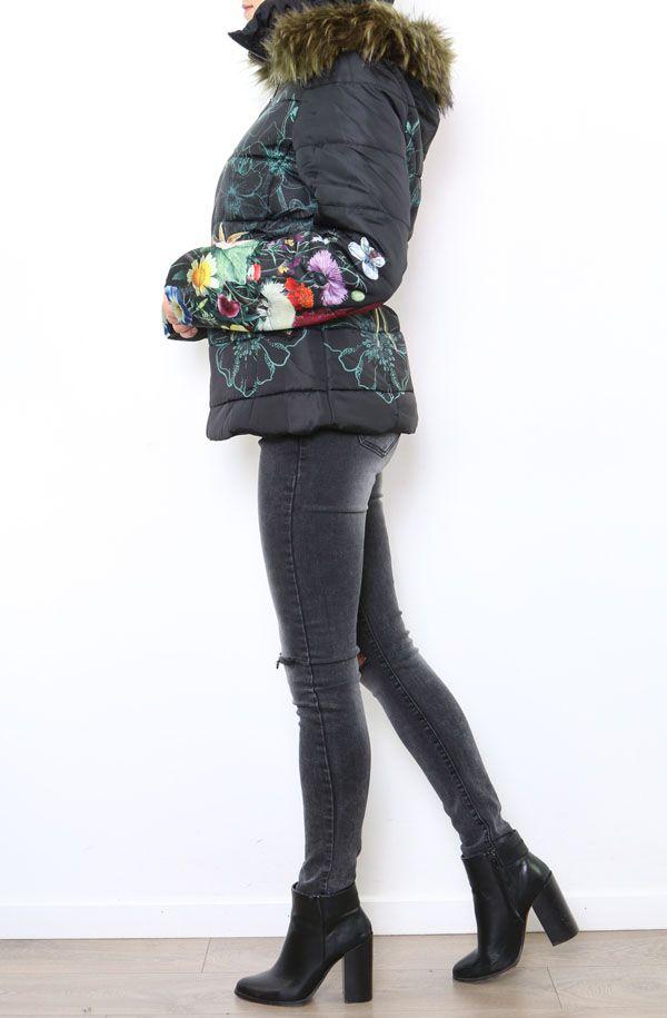 Manteau femme court noir zippé coloré Aurélia 304290
