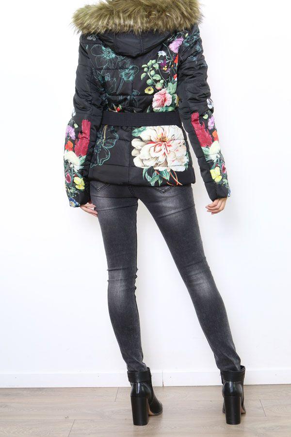 Manteau femme court noir zippé coloré Aurélia 304291