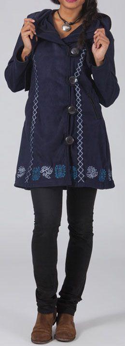Manteau femme en polaire Ethnique et Original Eliad Bleu 274587