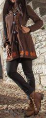 Manteau femme en polaire Ethnique et Original Eliad Choco 274591