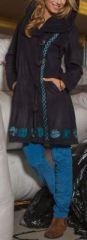 Manteau femme en polaire Ethnique et Original Eliad Noir et bleu 274594
