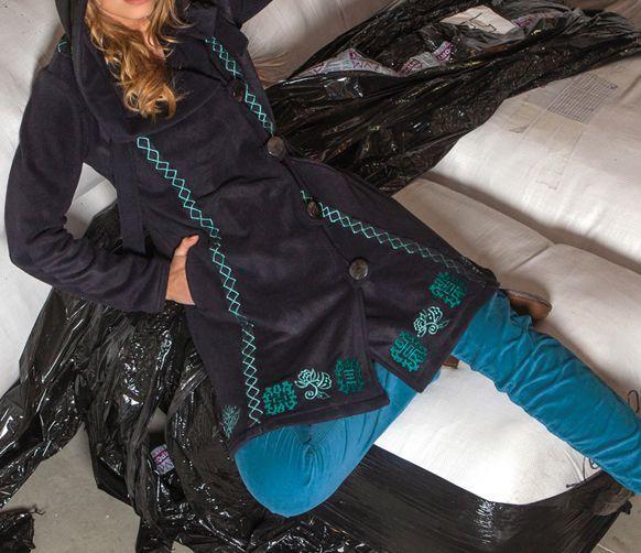 Manteau femme en polaire Ethnique et Original Eliad Noir et bleu 274595
