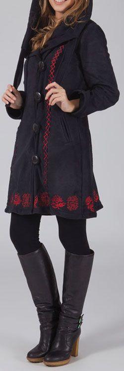 Manteau femme en polaire Ethnique et Original Eliad Noir et Rouge 274590