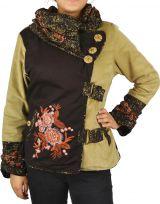 Manteau femme en velours doublé polaire Végaz beige 305150