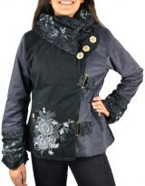 Manteau femme en velours doublé polaire Végaz noir et gris 305147