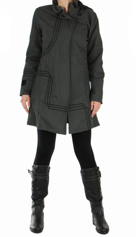 manteau femme long chogah gris. Black Bedroom Furniture Sets. Home Design Ideas