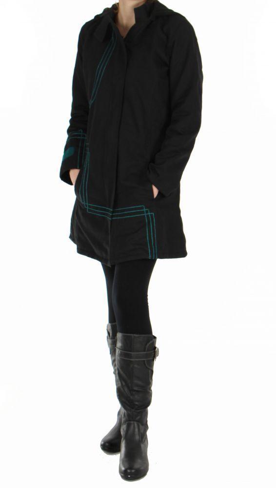 Manteau femme long chogah noir 248936