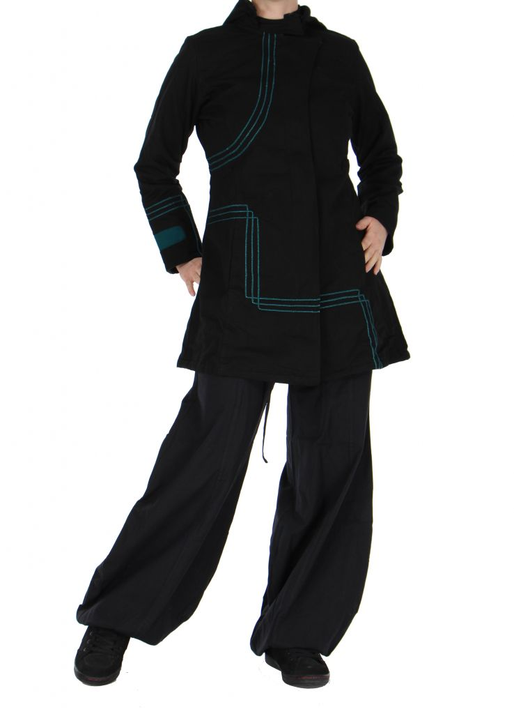 Manteau femme long chogah noir 266379