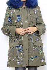 Manteau femme long couleur kaki original Célia 304247