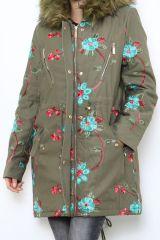 Manteau femme mi-long broderie originale Midan 304252