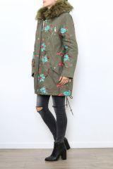 Manteau femme mi-long broderie originale Midan 304254