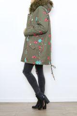 Manteau femme mi-long broderie originale Midan 304255