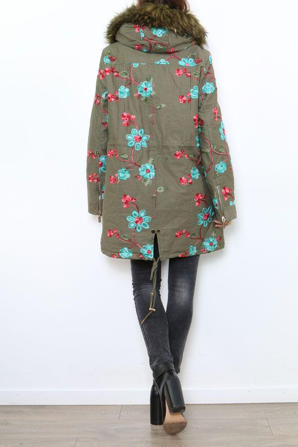 Manteau femme mi-long broderie originale Midan 304256