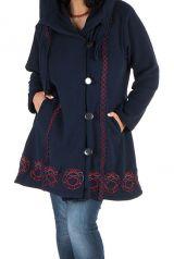 Manteau Femme ronde à capuche et fermeture boutons en 100% polaire Bleu marine Edna 300903