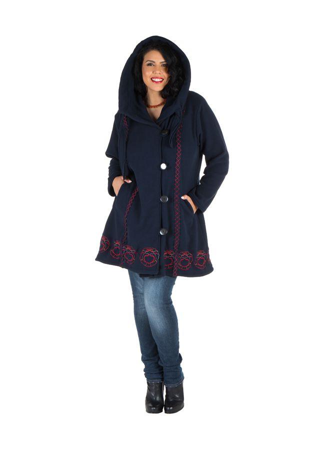 Manteau Femme ronde à capuche et fermeture boutons en 100% polaire Bleu marine Edna 300904
