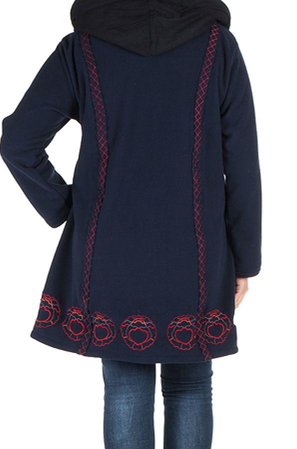 Manteau Femme ronde à capuche et fermeture boutons en 100% polaire Bleu marine Edna 300905