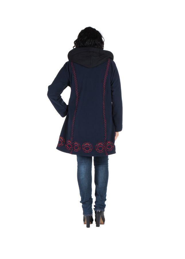 Manteau Femme ronde à capuche et fermeture boutons en 100% polaire Bleu marine Edna 300906