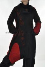 Manteau flore noir et rouge 237631
