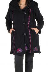 Manteau grande taille à capuche et fermeture boutons en 100% polaire Noir Tania 300877