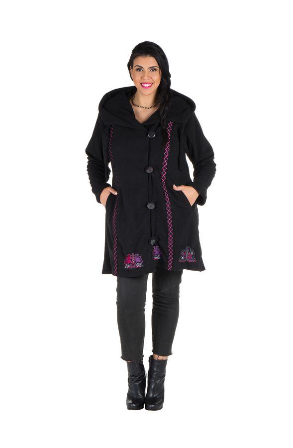Manteau grande taille à capuche et fermeture boutons en 100% polaire Noir Tania 300882