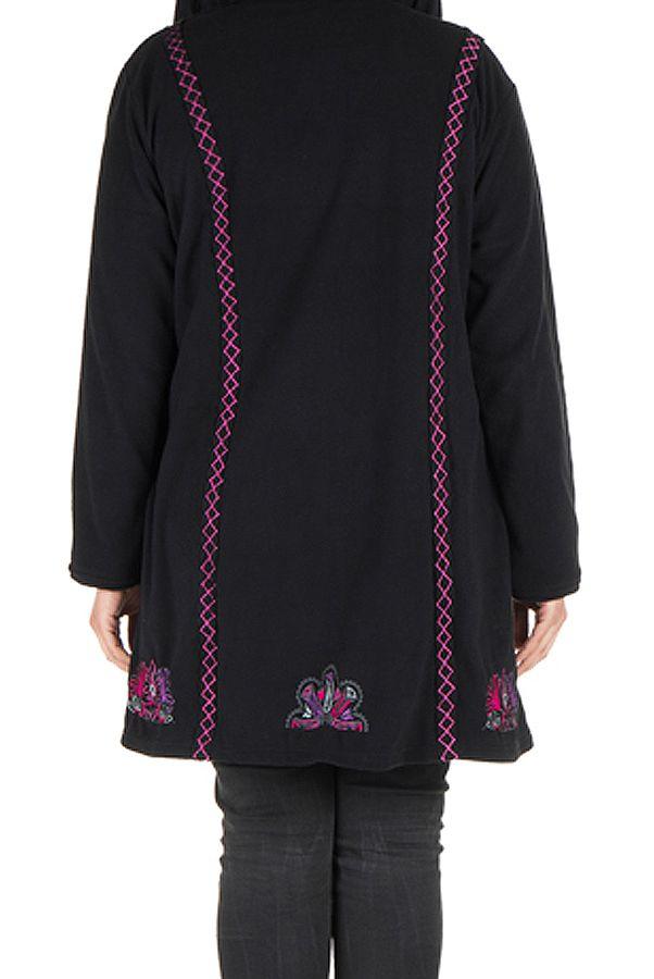 Manteau grande taille à capuche et fermeture boutons en 100% polaire Noir Tania 300883