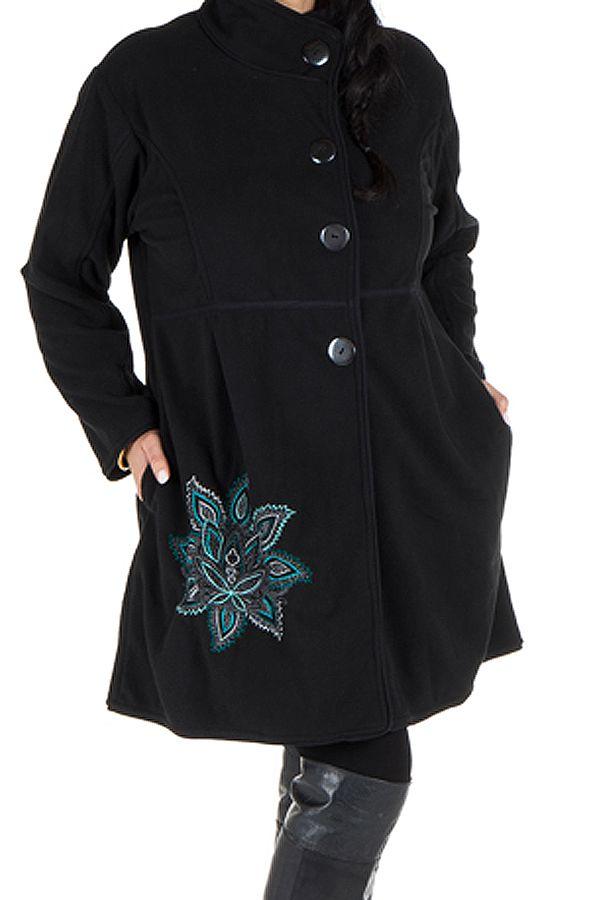 Manteau grande taille à col montant et fermeture boutons en 100% polaire Noir Harlem 300849