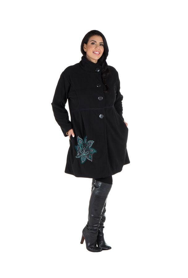Manteau grande taille à col montant et fermeture boutons en 100% polaire Noir Harlem 300858