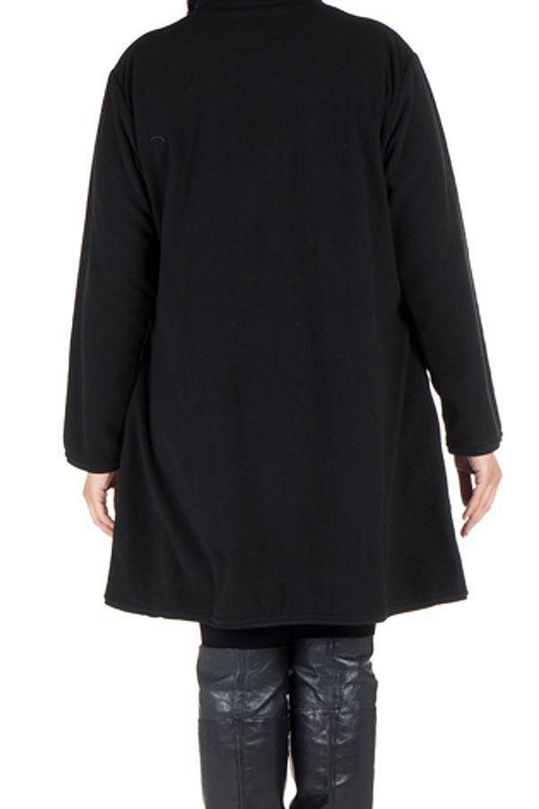 Manteau grande taille à col montant et fermeture boutons en 100% polaire Noir Harlem 300859