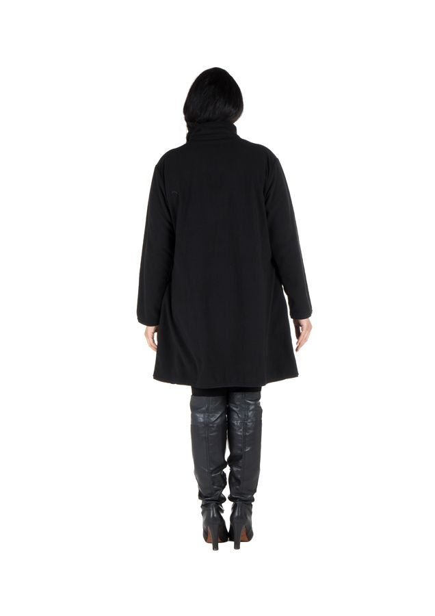 Manteau grande taille à col montant et fermeture boutons en 100% polaire Noir Harlem 300860