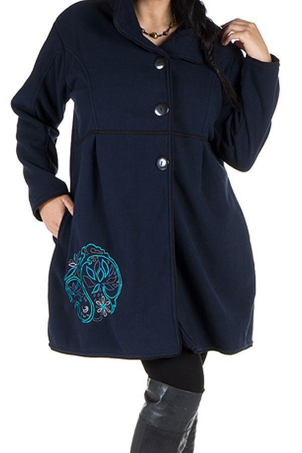 Manteau grande taille à col montant et fermuture boutons en 100% polaire Bleu Veruca 300823
