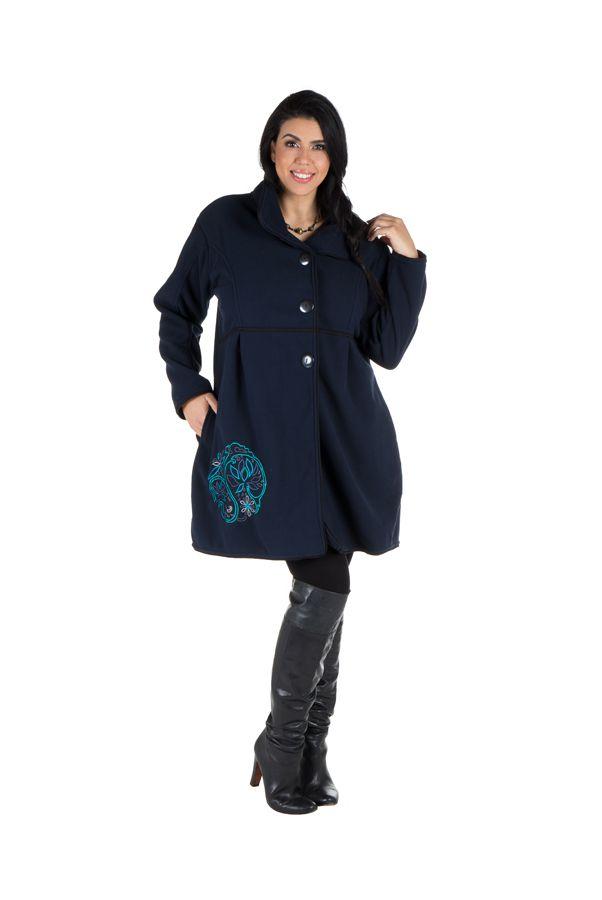 Manteau grande taille à col montant et fermuture boutons en 100% polaire Bleu Veruca 300824