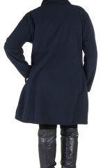 Manteau grande taille à col montant et fermuture boutons en 100% polaire Bleu Veruca 300825