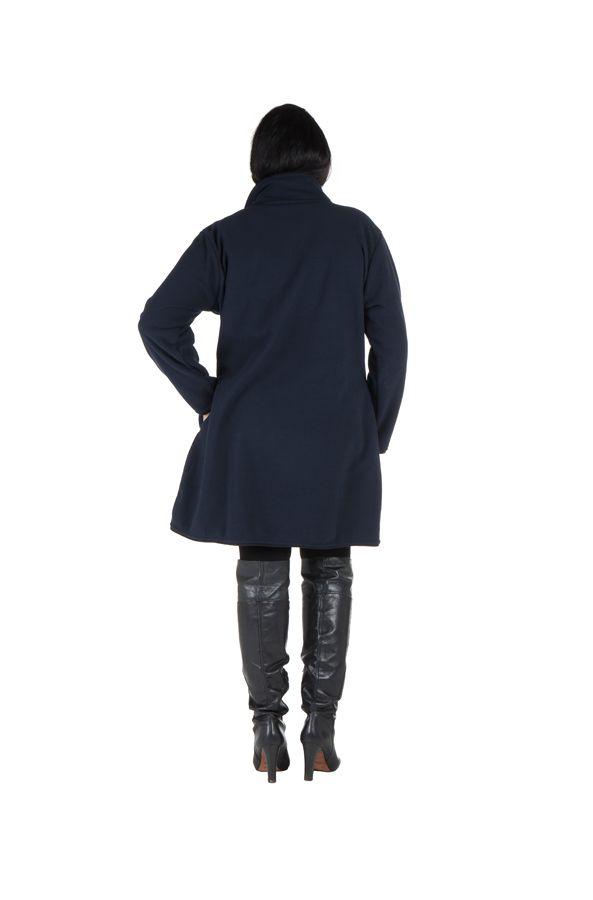 Manteau grande taille à col montant et fermuture boutons en 100% polaire Bleu Veruca 300826
