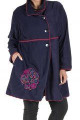 Manteau grande taille en polaire avec broderie fantaisie Bleu Marian 300805