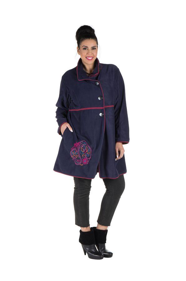 Manteau grande taille en polaire avec broderie fantaisie Bleu Marian 300806