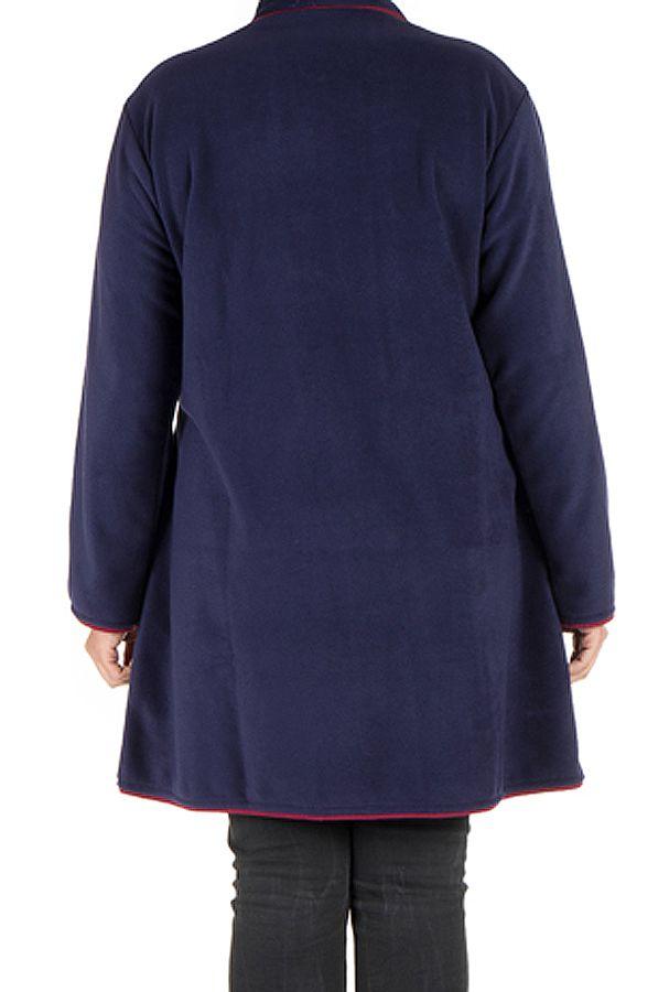 Manteau grande taille en polaire avec broderie fantaisie Bleu Marian 300807