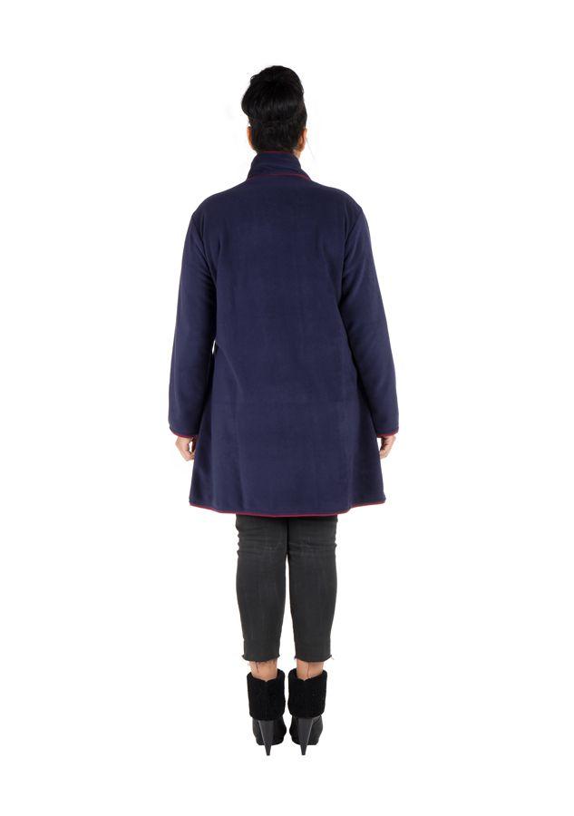 Manteau grande taille en polaire avec broderie fantaisie Bleu Marian 300808