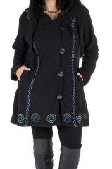 Manteau Grande taille en polaire et fermeture 4 boutons broderie bleue Erina 300957