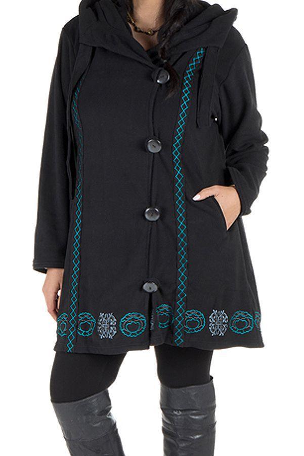 Manteau Grande taille en polaire et fermeture 4 boutons Noir Prisca 300940
