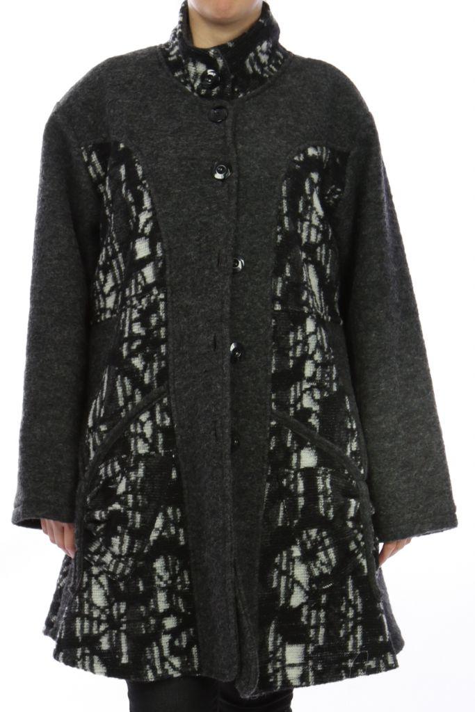 Manteau grande taille gris en laine casual Déboh Gris 303835