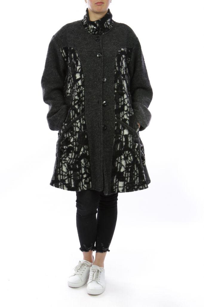 Manteau grande taille gris en laine casual Déboh Gris 303836