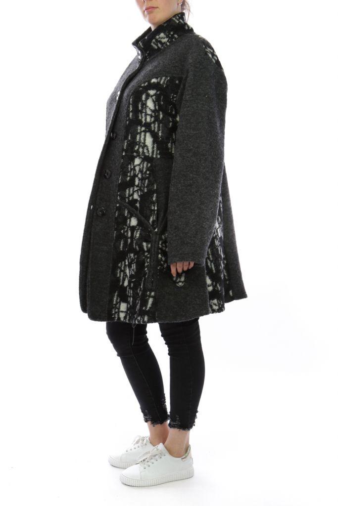 Manteau grande taille gris en laine casual Déboh Gris 303837