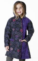 Manteau imprimé ethnique pour enfant avec capuche 287614