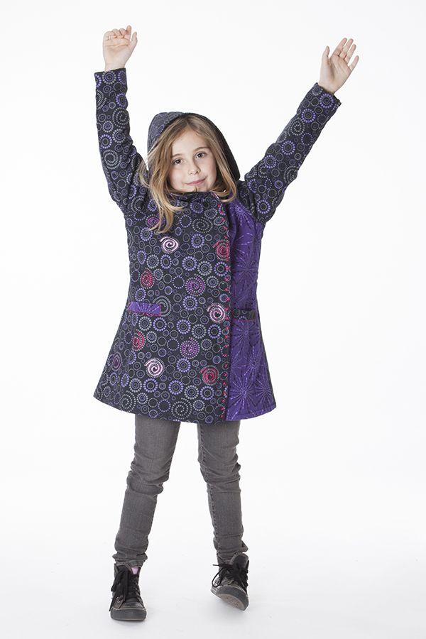 Manteau imprimé ethnique pour enfant avec capuche 287615