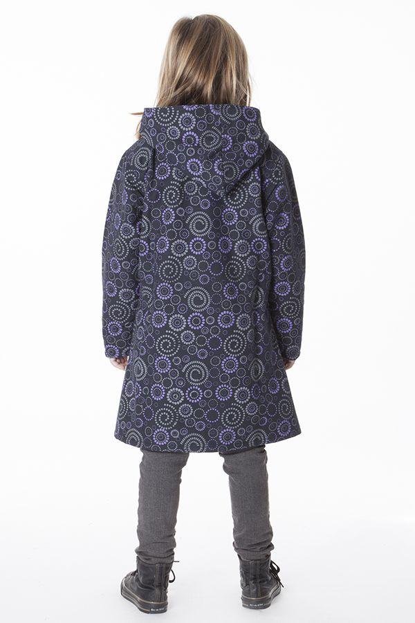 Manteau imprimé ethnique pour enfant avec capuche 287617